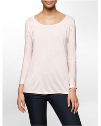 Calvin Klein | Pink Jeans Lace Detail Dolman 3/4 Sleeve Top | Lyst