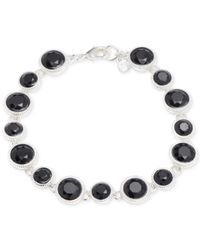 Nine West | Black Silver-tone Stone Crystal Flex Bracelet | Lyst