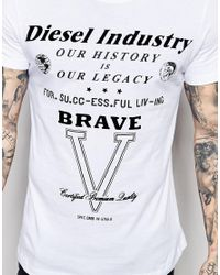 DIESEL | T-shirt Cl-t-fracas Crewneck Flock Logo Print In White for Men | Lyst