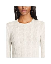 Ralph Lauren Black Label - Gray Cabled Cashmere Crewneck - Lyst