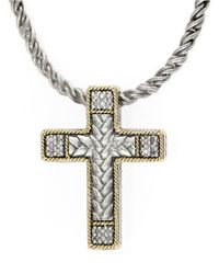 Lord & Taylor | Metallic Balissima Sterling Silver Necklace With 18k Gold And Diamond Cross Pendant | Lyst