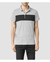 AllSaints | Gray Riordan Polo for Men | Lyst