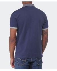 Hackett | Blue Slim Fit Striped Collar Polo Shirt for Men | Lyst