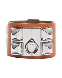 Hermès | Orange Pre-Owned Epsom Collier De Chien Cdc Bracelet | Lyst