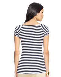 Lauren by Ralph Lauren | Blue Striped Cotton Ballet Neck Top | Lyst