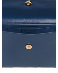Ferragamo - Blue Saffiano Leather Clutch With Bow - Lyst