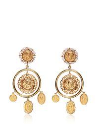 Dolce & Gabbana   Metallic Gold Plated Coin Pendant Earrings   Lyst