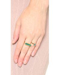 Monica Vinader - Naida Mini Circle Ring - Green/gold - Lyst