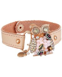 Betsey Johnson - Pink Betsey Woven Owl Leather Cuff Bracelet - Lyst