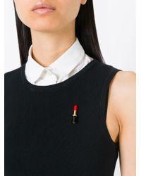 Saint Laurent - Black 'eighties' Lipstick Pin - Lyst