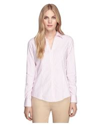 Brooks Brothers - Pink Non-iron Fitted Stripe Dress Shirt - Lyst