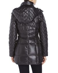 Marc New York | Black Mixed Quilted Hooded Down Jacket | Lyst