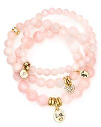 Sequin - Pink Love Heart Bracelets, Set Of 3 - Lyst