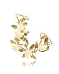 Bernard Delettrez | Metallic Thumbforefinger Bronze Ring Wwhite Resin Roses | Lyst