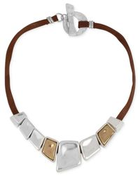 Robert Lee Morris | Metallic Two-tone Geometric Frontal Necklace | Lyst