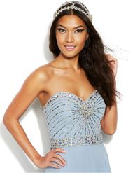 Xscape - Blue Strapless Starburst Embellished Gown - Lyst