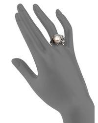 John Hardy - Metallic Naga 10.5Mm-11Mm White Freshwater Pearl, Black Sapphire, Ruby & Sterling Silver Small Dragon Ring - Lyst