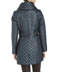 Via Spiga - Blue Side Tab Quilted Coat - Lyst