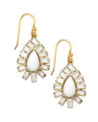 kate spade new york - Metallic New York Goldtone Capri Garden White Drop Earrings - Lyst