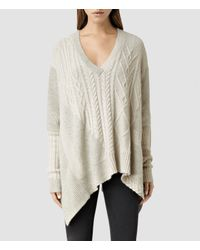 AllSaints | White Link Draped Jumper | Lyst