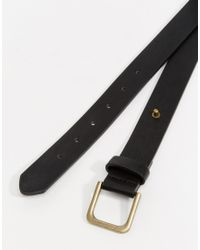 ASOS - Belt In Black Faux Leather With Stud Fastening - Lyst