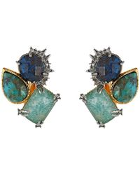 Alexis Bittar | Green Crystal Studded Spur Trimmed Chrysocolla & Amazonite Crystal Doublet Button Clip Earrings | Lyst