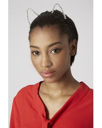 TOPSHOP - Multicolor Gem Cat Ear Headband - Lyst