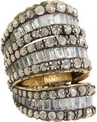 Nak Armstrong - Yellow Rainbow Moonstone, Labradorite & Grey Rustic Diamond Ring - Lyst