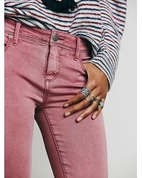 Free People - Red Rolled Cropped Skinny - Lyst