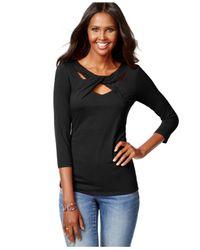 INC International Concepts - Black Three-quarter-sleeve Cutout Top - Lyst