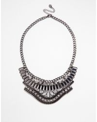 Lipsy | Metallic Haematite V Bar Collar Necklace | Lyst