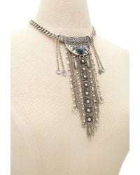 Forever 21 | Metallic Etched Fringe Necklace | Lyst