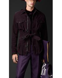 Burberry - Purple Nubuck Field Jacket for Men - Lyst