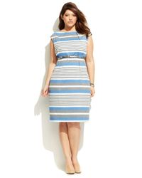 Calvin Klein - Blue Plus Size Sleeveless Striped Belted Sheath - Lyst
