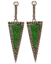 Kimberly Mcdonald - Green Uvaronite Garnet Diamond Triangle Earrings - Lyst