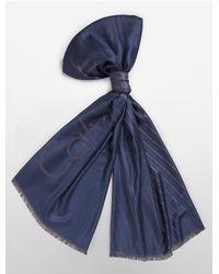 Calvin Klein - Blue White Label Lightweight Diagonal Stripe Logo Scarf - Lyst
