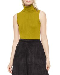 Vince Camuto | Green Sleeveless Turtleneck Sweater | Lyst