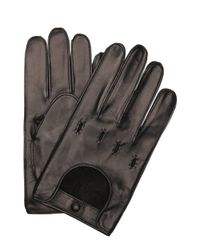 Portolano - Black Leather Snap Close Driving Gloves for Men - Lyst