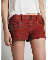 Free People - Red Womens Cord Zipper Cut Off Short - Lyst