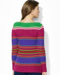 Ralph Lauren | Multicolor Petite Stripe Boat Neck Sweater | Lyst