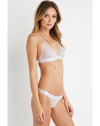 Forever 21 | White Floral Crochet-paneled Mesh Bralette | Lyst