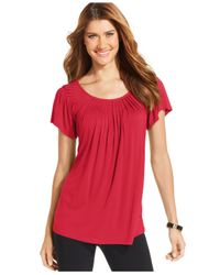 Style & Co. - Red Pleated-neck Top - Lyst