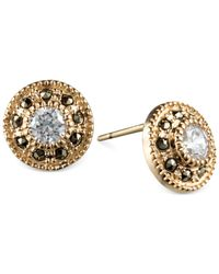 Judith Jack - Metallic 14k Gold-plated Marcasite And Cubic Zirconia Button Post Earrings - Lyst