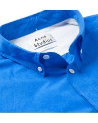 Acne Studios | Blue Isherwood Button-Down Collar Cotton-Poplin Shirt for Men | Lyst