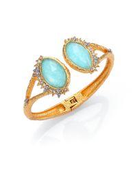 Alexis Bittar - Blue Elements Gilded Muse Amazonite & Crystal Fancy-Cut Open Cuff Bracelet - Lyst