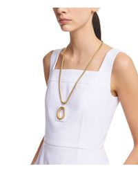 Tory Burch - Metallic Oval Pendant Chain Necklace - Lyst