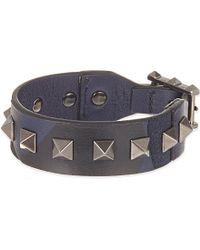 Valentino - Blue Studded Leather Bracelet, Men's, Navy Camo - Lyst