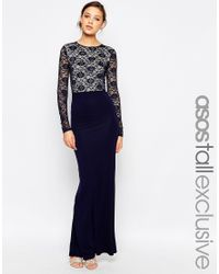 ASOS | Blue Tall Soft Lace Top Maxi Dress | Lyst