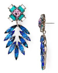DANNIJO | Blue Simon Multi-Crystal Statement Earrings | Lyst