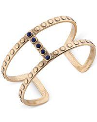 Lucky Brand | Metallic Gold-tone Blue Stone Open Cuff Bracelet | Lyst